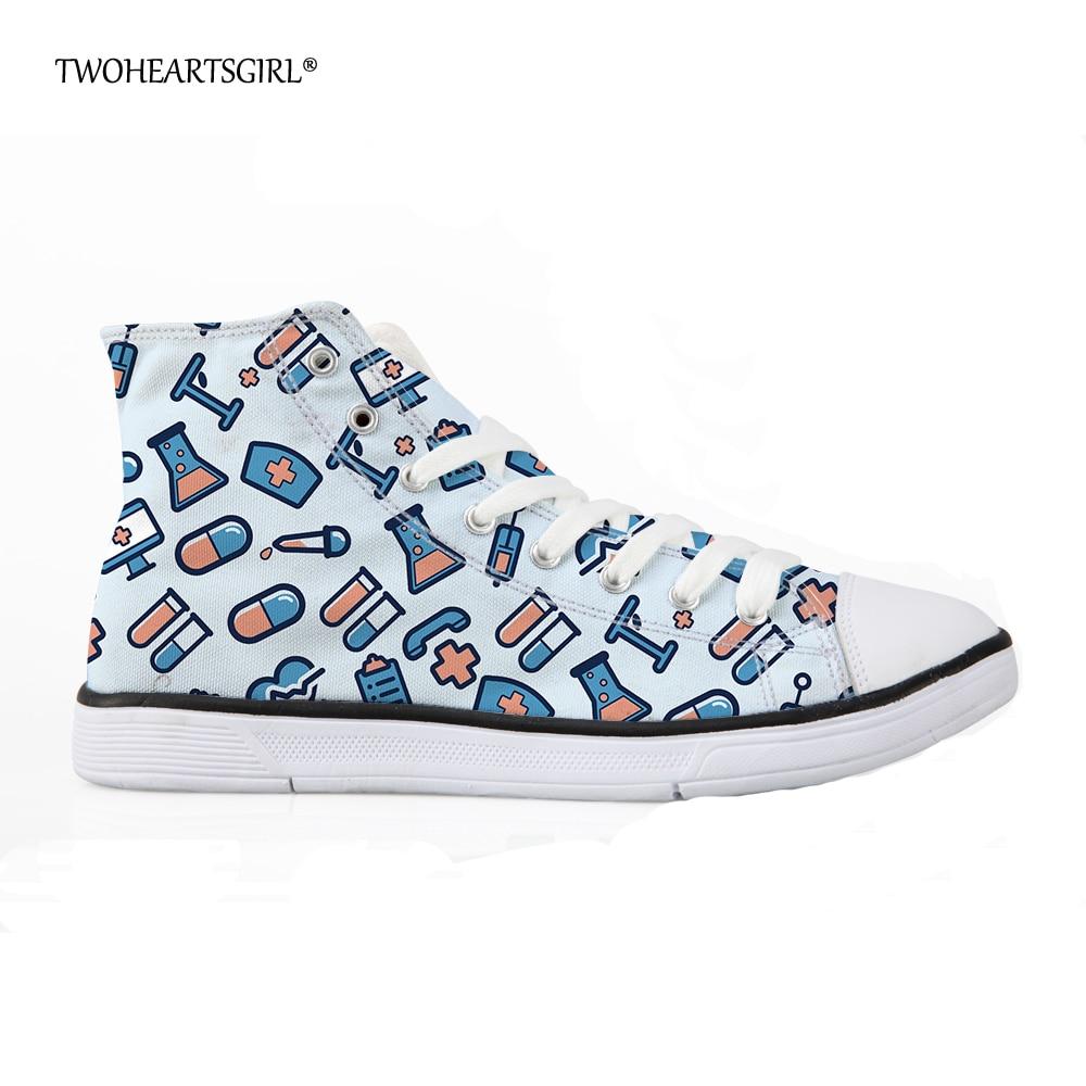 Twoheartsgirl 2018 Mujeres de la moda High Top Canvas Nurse Sneakers - Zapatos de mujer - foto 1
