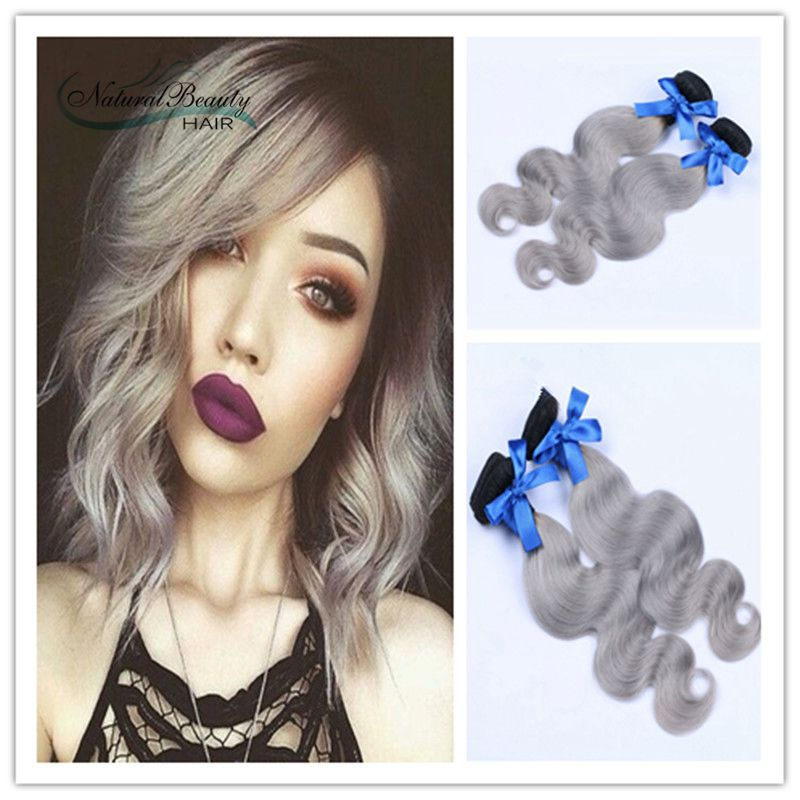 #1B Gray Hair Extensions Body Wave 2Pcs Lot Peruvian Grey Hair Weave Ombre Grey Human Hair Bundles New Fashion Free Shipping