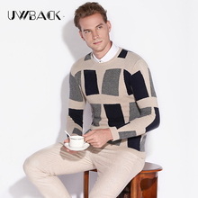Uwback 2017 New Brand Thick Plaid Wool Pullover Winter Sweaters Men O-Neck Pattern Casual Autumn Sweater Men Jumper Basic CAA245