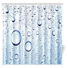 Water Bubbles Shower Curtain Drops Polyester Fabric Bathroom Extra Long Waterproof Curtains