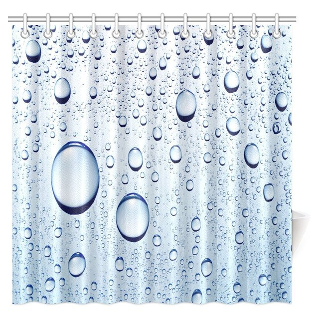Water Bubbles Shower Curtain Drops Polyester Fabric Bathroom Extra Long Waterproof