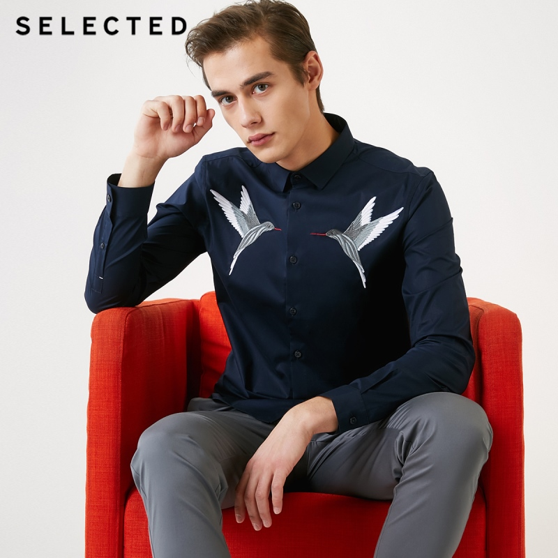 SELECTED Men's Hummingbird Embroidery Slim Fit Long-sleeved Shirt S|419105521