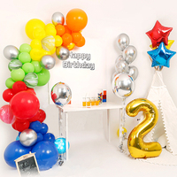 Yellow Red Blue Green Orange Colorful Rainbow Balloon Garland Birthday Baby Shower Party Decoration 1 2 3 4 5 Year Party Supply