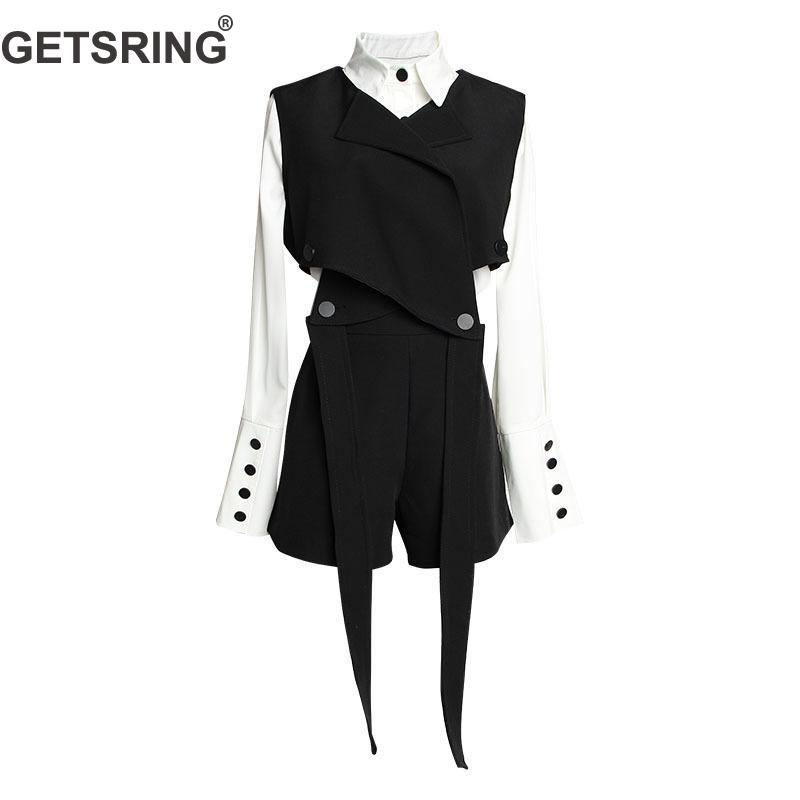 GETSRING Women's Sets Long Sleeve White Shirt Irregular Bandage Vest High Waist Women Shorts 3 Piece Set Women Sets Clothes 2019