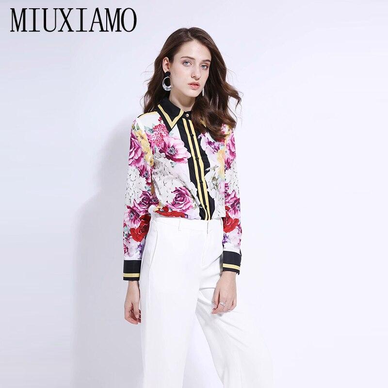 MIUXIMAO personnalisé grande taille 2019 printemps décontracté col rabattu manches longues Rose fleur imprimer mode Blouse femmes