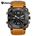 Infantry mens relógios relojes hombre 2017 relógio de pulseira de couro militar dual time digital quartz relógios à prova d' água relógio masculino