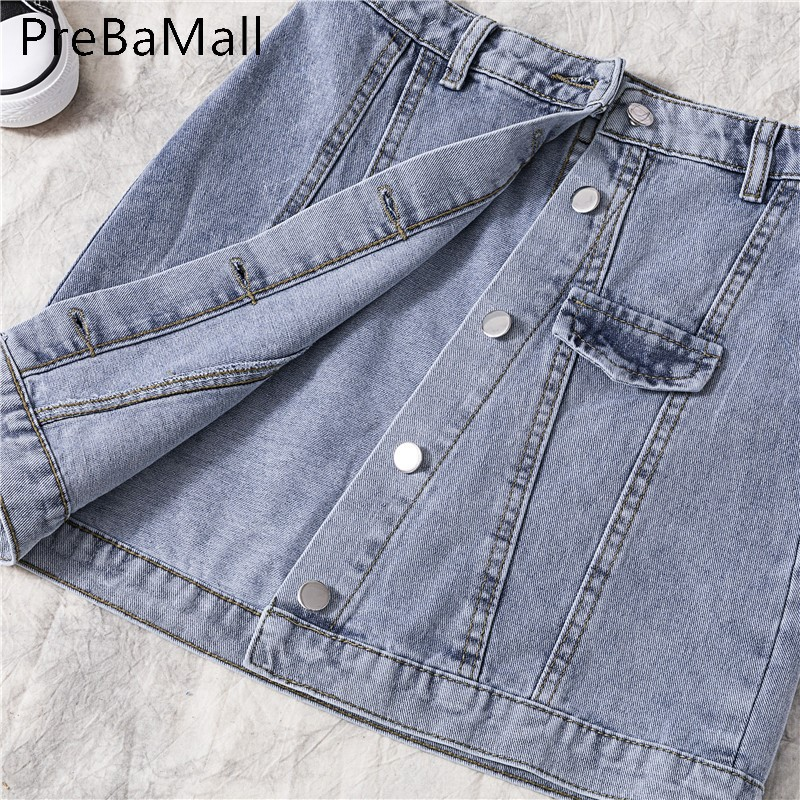 Fashion High Waist Denim Skirt Women 2019 Summer Casual Single Breasted Irregularity Mini Short Jeans Skirt Female C90