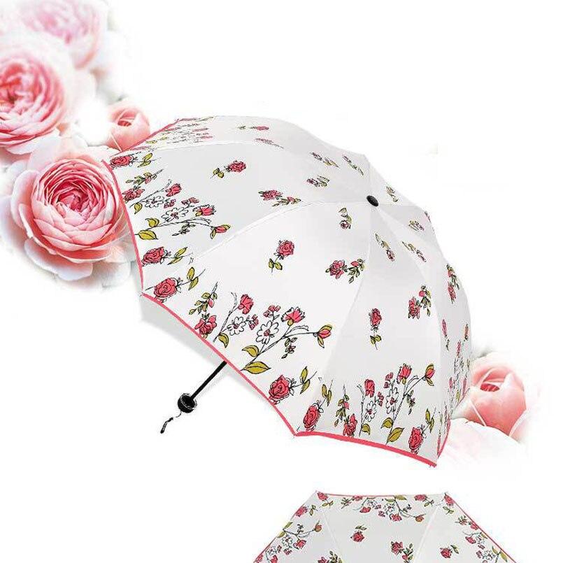 Full Automatic Reinforced Flower Umbrella Three Folding Female Parasol Rain Women Windproof Cute Mini