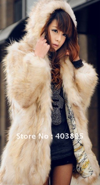 (Free shipping)New arrival fashion women's winter garment,100% natural fox fur outerwear coats+hooded design