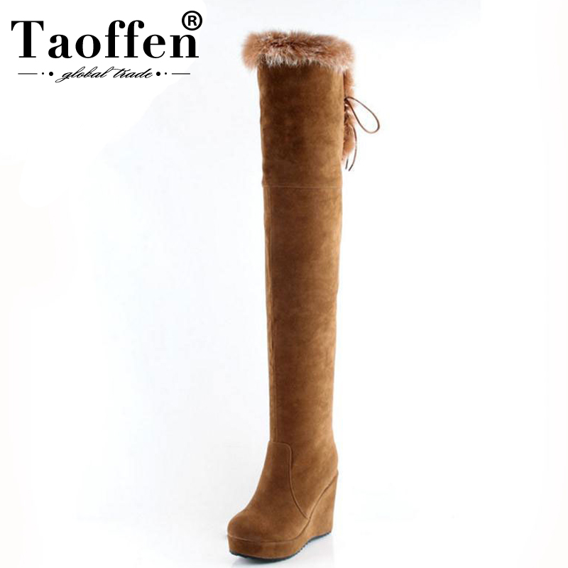 Taoffen Over Knee Boots Women High Heels Shoes Wedges Real Fur Platform Zipper Boots Winter Long Boots Women Footwear Size 34 43