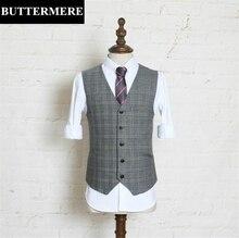 Grey Suit Vest Mens Plaid Waistcoat Men Wedding Sleeveless Jacket Vintage Tweed Vest Slim Fit Designer Clothes Gilet Costume