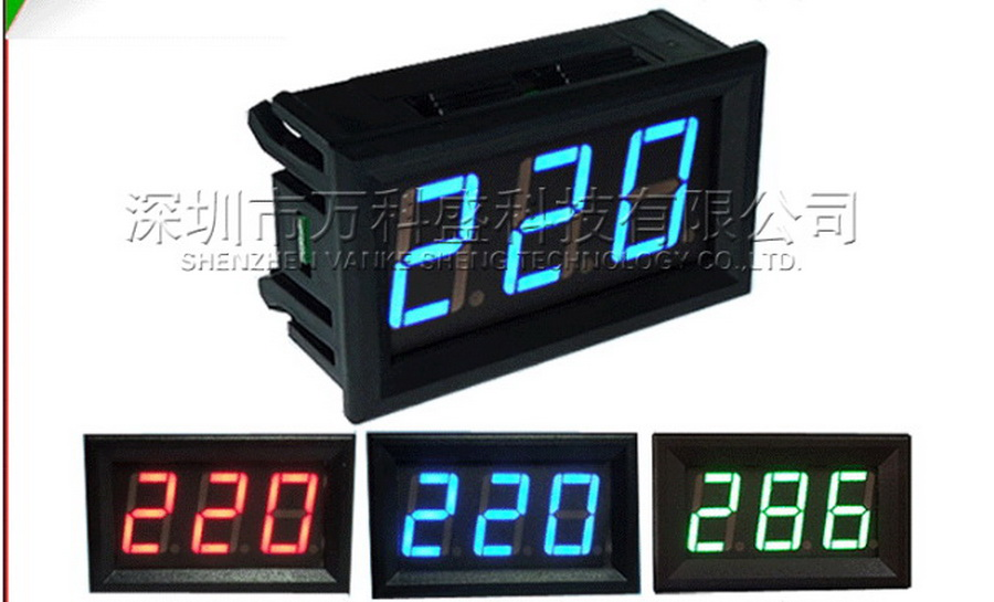 by dhl 100pcs 0 56 inch 2 Wires LED AC 70 500V Digital Voltmeter Home Use