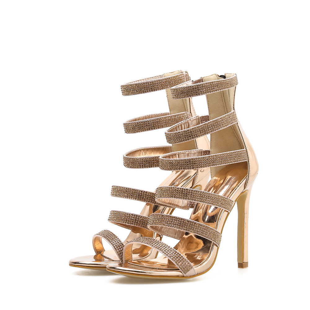 f6427b7faa0 US $19.62 39% OFF 2019 women's shoes fashion Rhinestone stilettos high  heeled sandals sexy patent leather shoes peep toe sexy gold wedding  sandals-in ...