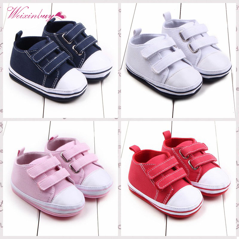 Solid Canvas Baby Shoes Newborn Boys Girls First Walkers Infant Toddler Soft Bottom Anti-slip Prewalker Sneakers