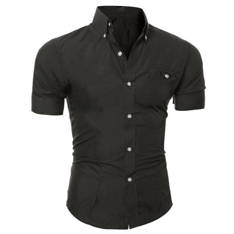 2018 shirt Men Summer Business Stylish Slim Short Sleeve Basic T Shirt Blouse Top Size M-5XL camisa masculina #M21 (5)