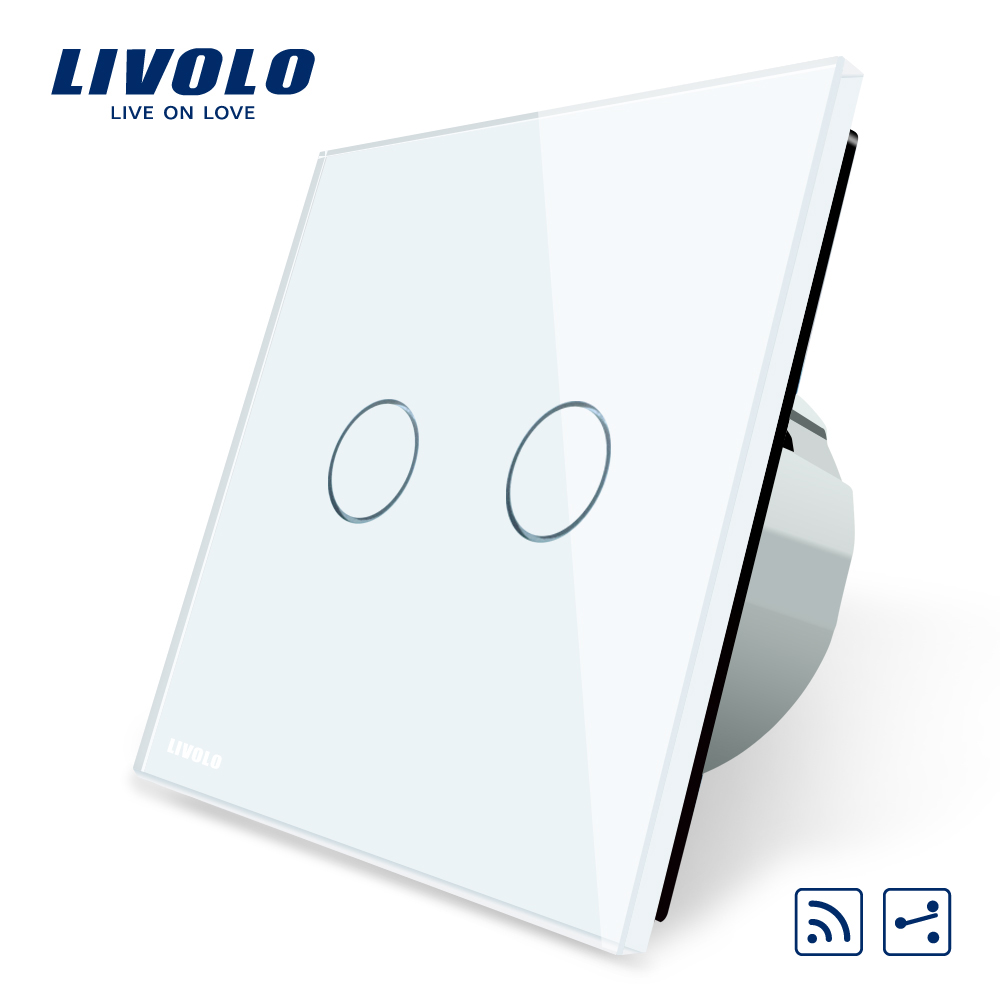 Livolo EU Standard, Touch Remote Switch, White Crystal Glass Panel, 2 Gangs 2 Way, AC 220~250V + LED Indicator, VL-C702SR-1/2/5