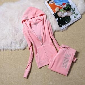 Image 2 - Moda rahat kadife kumaş kadın eşofman kadife takım elbise Hoodies Tops ve ter pantolon seti S XL