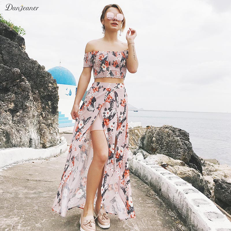 436af7a031 Danjeaner Off Shoulder Floral Print Summer Maxi Dress Plus Size Women Two  Piece Set Beach Dress Female Sexy Split Boho Dresses