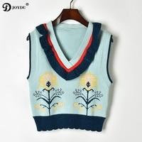 JOYDU 2018 Lurex Knitted Vest Women Sweater V neck Sleeveless Ruffles Patchwork Flower Jacquard Crop Top Sweet Pullover Jumper