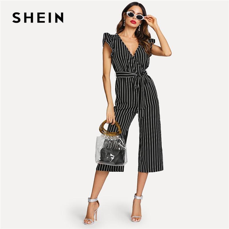 SHEIN Black and White Elegant Vertical Stripe Ruffle Detail Wrap Deep V Neck Belted Jumpsuit Summer Women Workwear Jumpsuit