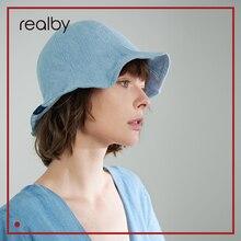 Летняя новая чистая небесно-голубая Рыбацкая шляпа Женская хлопковая Солнцезащитная шапочка для бассейна Милая пляжная унисекс KR04-133