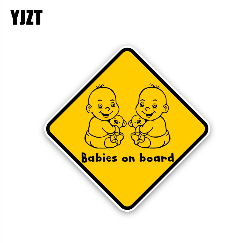 YJZT 14.6CM*14.6CM Babies On Board Decal Lovely Baby Car Sticker PVC 12-40338