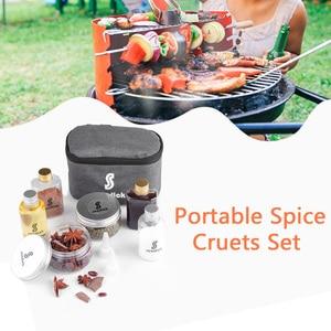Image 4 - 7 PCS Spice Cruets Set Travel Size Salt Bottle BBQ Sauce Container Anise Bottle Storage Bag Set Camping Hiking BBQ Self driving