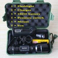 5000 Lumen XML T6 Tactical Flashlight Aluminum Hunting Flash Light Torch Lamp 18650 Charger Gun Mount