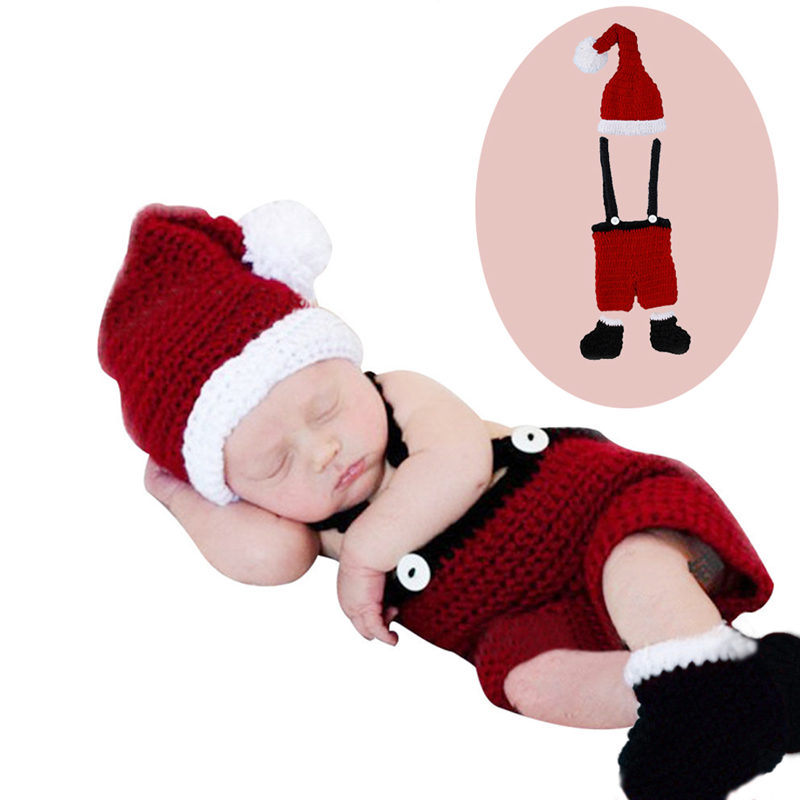 Cute Newborn Baby Gril Christmas Crochet Outfits Photography Costume Photo Props cute newborn baby photography props outfits knit crochet hat tie pants costume set bebes roupa infantil bebek d