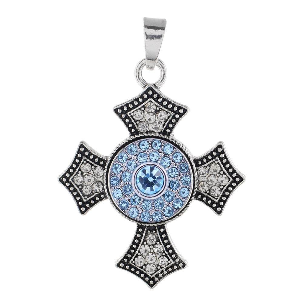 Partnerbeads Cross Pendant Jewelry Fit Blue Rhinestone Charms New Faith DIY Snap Button 18mm Pendant of Women Necklace KC0382