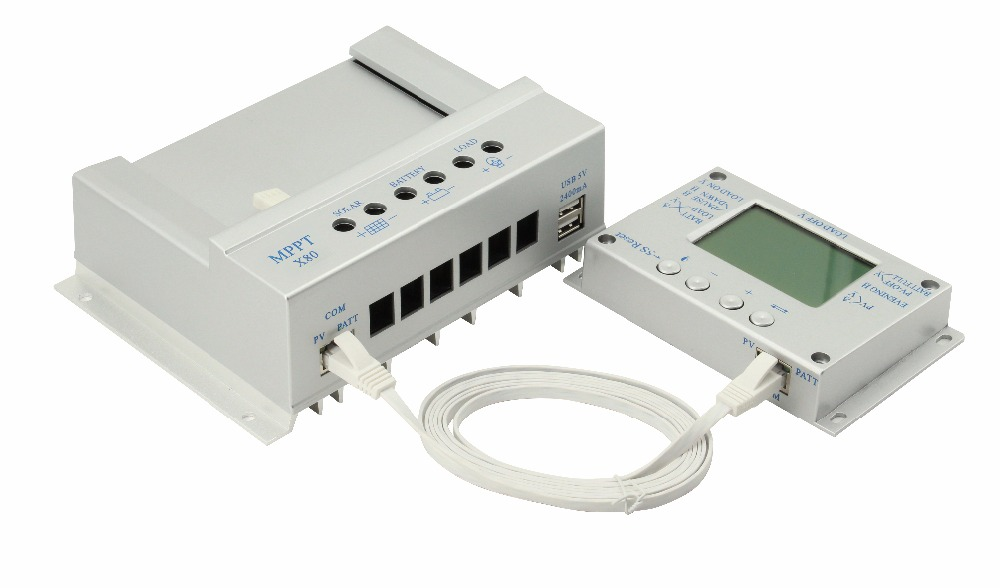 PowMr Solar Charge Controller 80A 12V 24V Solar Intelligent Regulator with Load Timer and LCD Display USB 5V 1500mA