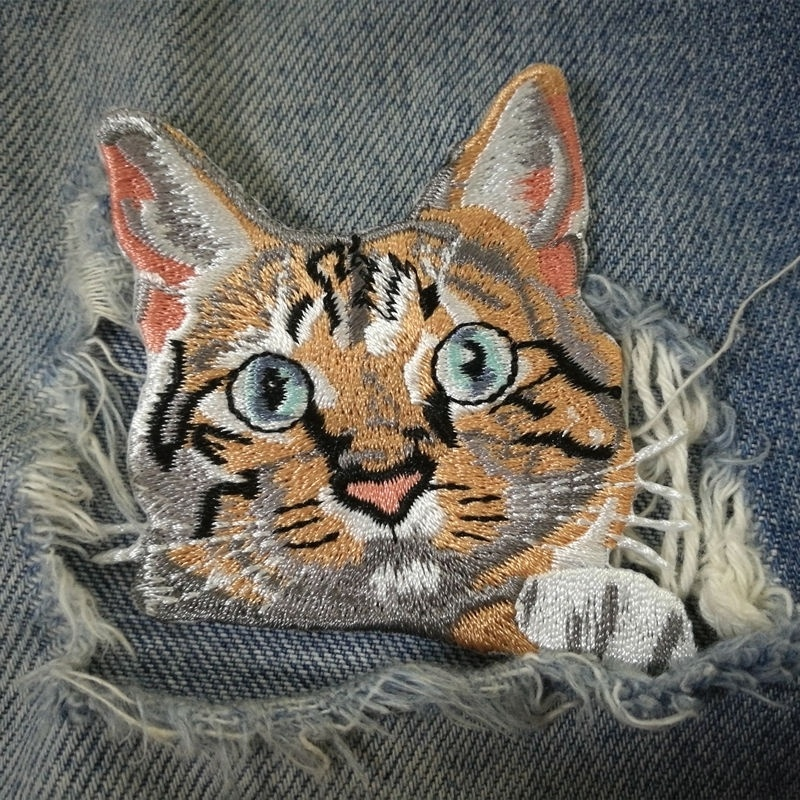 1 PIC 6.6*6.6CM Full Embroidered CAT Computer Embroidery Chapter Embroidered Cloth Sticker Decorative Patch