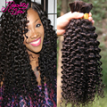 7A Peruvian Virgin Hair Curly Human Braiding Hair Bulk Kinky Curly Virgin Bulk Hair For Braiding Unprocessed Human Hair Braiding