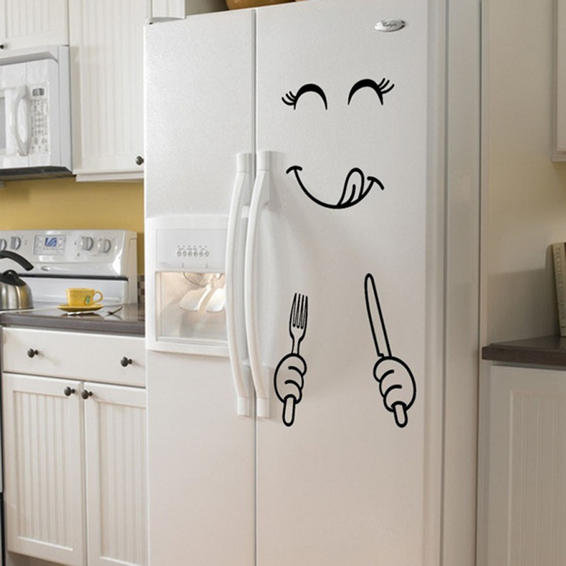 >4 Styles Smile Face <font><b>PVC</b></font> Wall Sticker Happy <font><b>Delicious</b></font> Face Fridge DIY Stickers Yummy for Food Furniture Decoration Art Poster