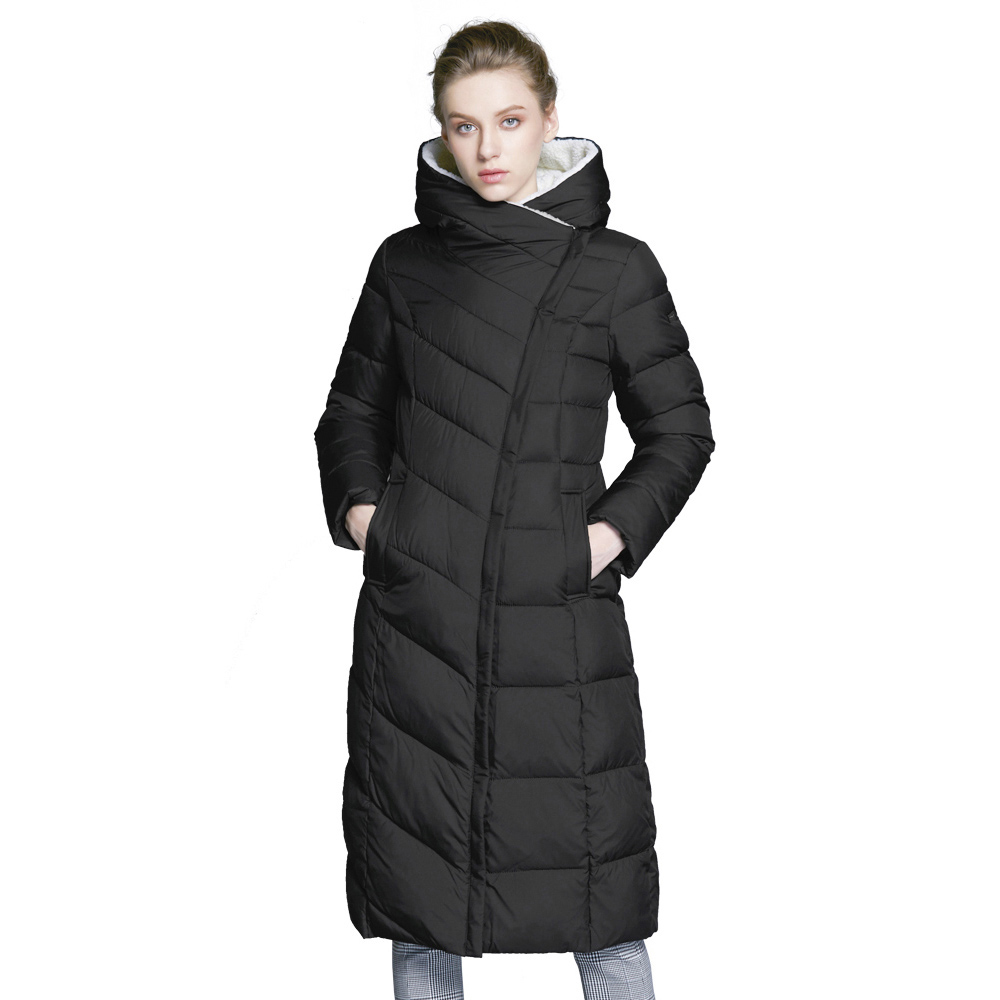 ICEbear 2017 Fashion Winter Autumn Jacket Women Padded Parka Coat Winter Slim Long Coat Three Colors Thick Parkas 17G661-1D 2017 winter women long hooded plus size cotton coat thickening parkas outerwear female wadded jacket padded cotton coats pw0995
