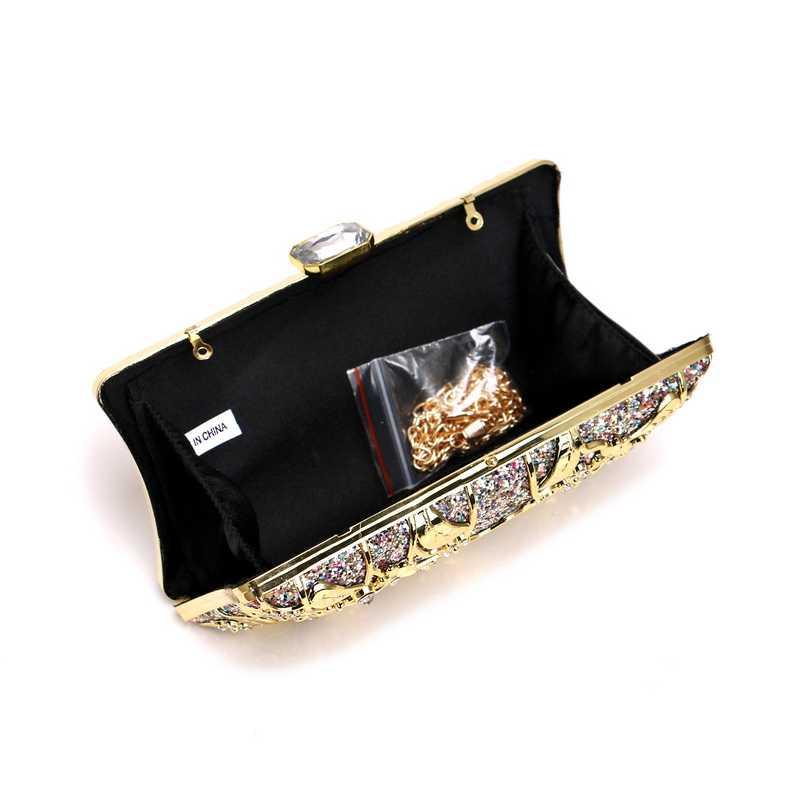 SEKUSA מפוארת יהלומי נשים יום מצמד חלול החוצה מתכת חתונה מסיבת ערב שקיות עם שרשרת כתף תיקי ארנק