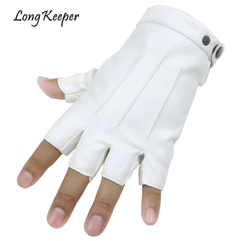 Long Keeper Men Fingerless Gloves Fitness Gloves Wrist Half Finger Glove For Dance Party Show Adult Fingerless Mittens Male Luva
