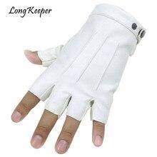 Long Keeper Men Fingerless Gloves Fitness Gloves Wrist Half Finger Glove For Dance Party Show Adult Fingerless Mittens Male Luva недорого