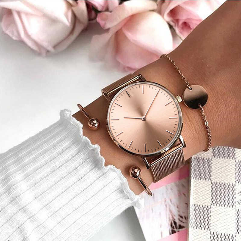 Mavis Hare Rose Gold Beauty Mesh Quartz Watches with Stianless Steel Circle Coin Armband Bracelet as the perfect gift