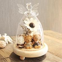 Украшение для дома Ангел Shepe стеклянный цветок и медведь глобус с деревянной основой Velentine's Day сувениры с декоративными украшениями