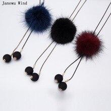 street fashion all macht Pearl tassel noble temperament cute imitation Mink Fur Ball pendant long Necklace women