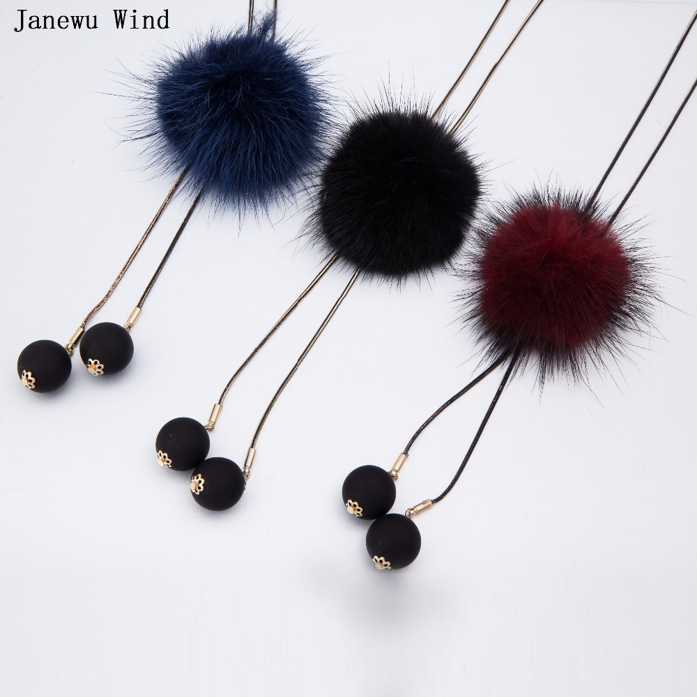 street fashion all macht Pearl tassel noble temperament cute imitation Mink Fur Ball pendant long Necklace