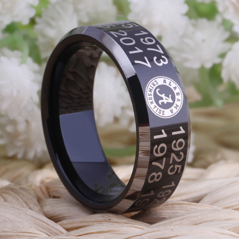 Free Shipping Customs Engraving Ring Hot Sales 8MM Black With Shiny Edges Crimson Tide Championship Ring Tungsten Wedding Ring