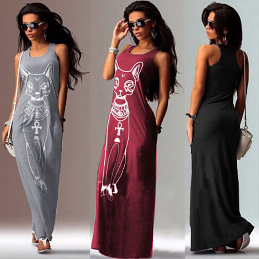 Long Maxi Summer Dresses Plus Size Maxi Candy Color Sleeveless Tank