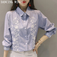 women sweet floral embroidery striped shirts long sleeve turn down collar ladies fashion casual tops blusas