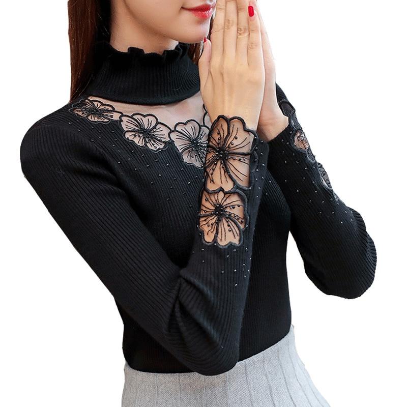 wine Black A De gray Y Otoño Mujer Suéter Elástico 2019 Punto Mujeres Alto Red Cuello Suéteres Mujeres Las Encaje wwBTZ4q
