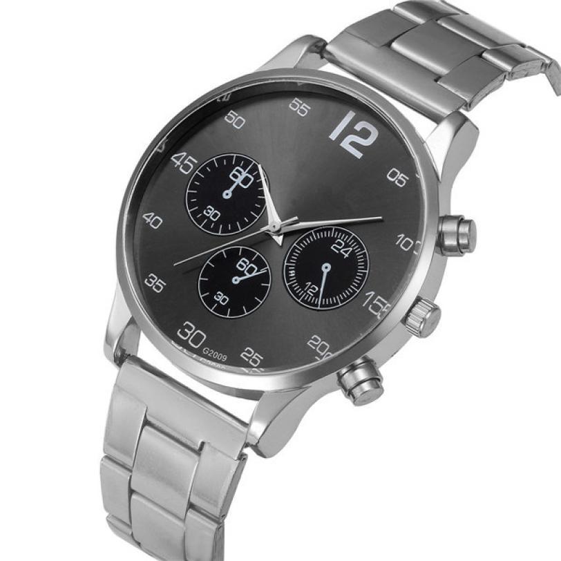 Relogio Masculino MensWatches Dropshipping Gift Fashion Men Crystal Stainless Steel Analog Quartz Wrist Watch Bracelet  july26