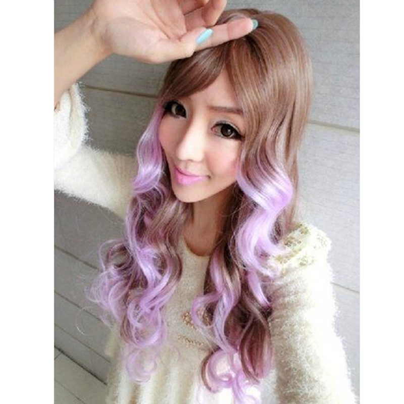 28 Anime Cosplay Wig Lolita Costume Wavy Brown Gradient Color Purple Japanese Wigs Synthetic Hair COS Curly Long Girl On Aliexpress