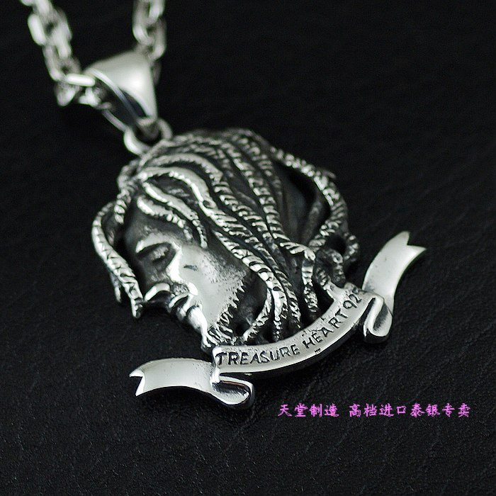 Thailand imports, Jamaica style 925 Sterling Silver Pendant dirty braid