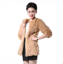 Autumn and winter women's 100% genuine rabbit fur leather coat lady's thicken warm fur coat outwear plus size